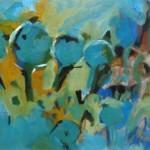 4 blaue Bäume - Acryl, Pappe - 70 x 50 cm