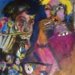 Nachtleben 4 - Acryl, Kreide - Papier - 80 x 60 cm
